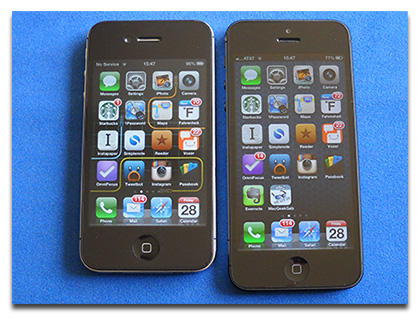 iPhone 5 (right) is nearly a centimeter taller than the iPhone 4S (left)