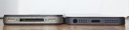 The iPhone 4 and 4S (left) are thicker than the iPhone 5 (right)