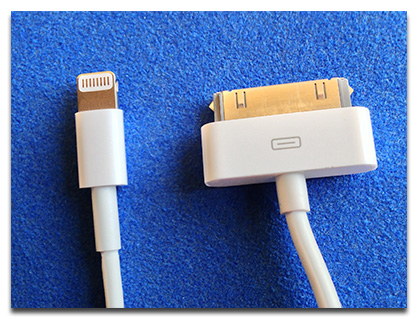 The Lightning connector (left) replaces the 30-pin Dock connector (right)