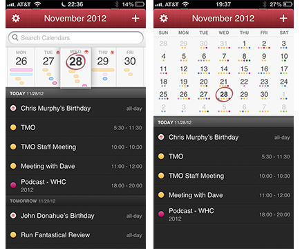 Fantastical's day view (left) and month view (right)