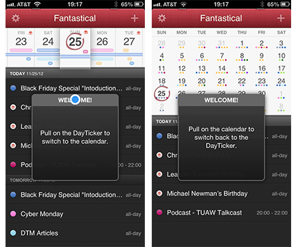 Tips show the gestures you need to navigate Fantastical's views