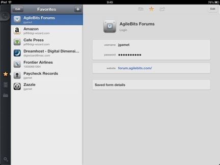 1Password 4's new Favorites category