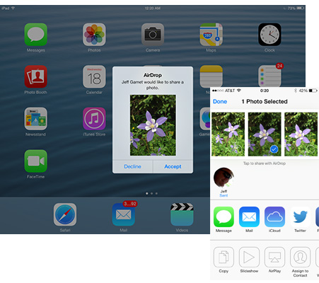 AirDrop lets you share files between iOS devices. Sorry, no Mac support here.