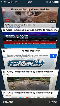 Safari's flip-style tab view is much easier to use