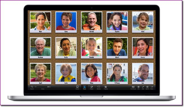 The iPhoto Faces view on a MacBook Air