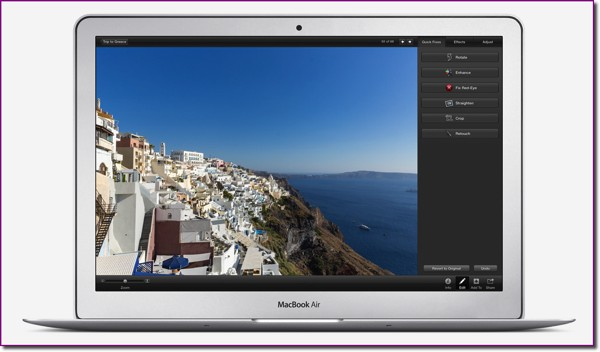 The iPhoto Quick Fixes view on a MacBook Air