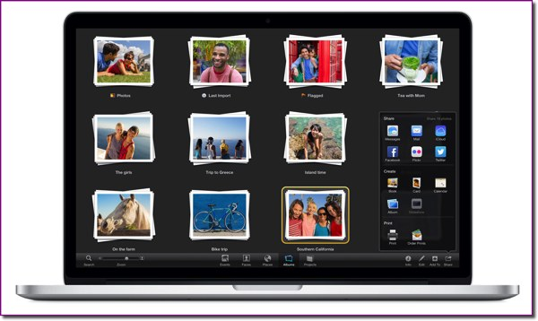 The iPhoto Albums view and the Sharing panel on a MacBook Air