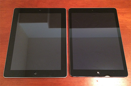 Compared to the 3rd and 4th gen iPad, the iPad Air is narrower