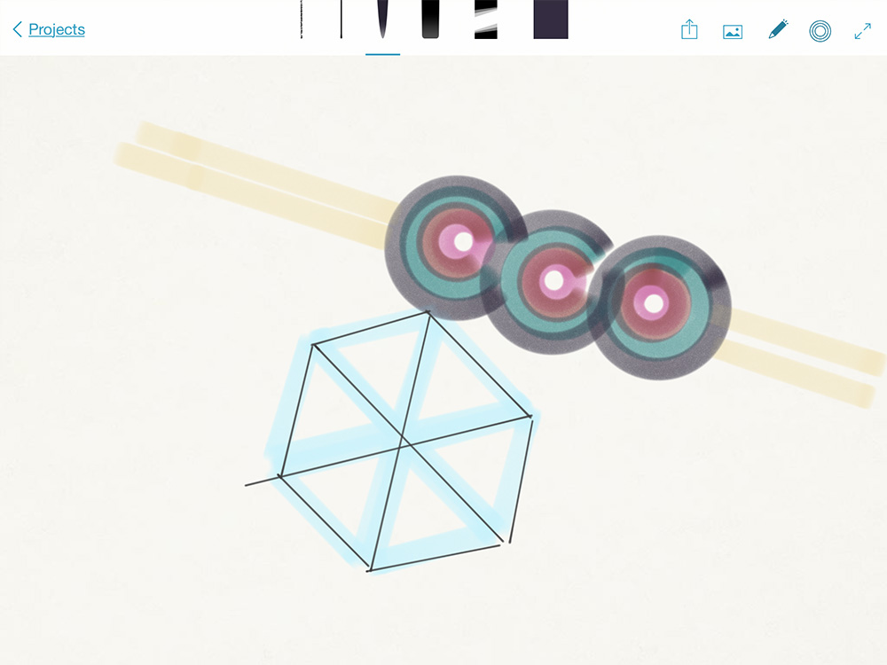 Adobe Sketch, where I kept drawing geometric shapes