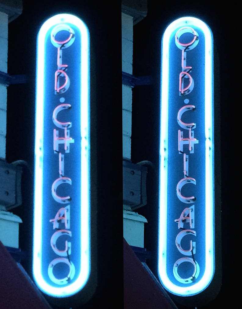 The iPhone 5s (left) doesn't handle low light, high contrast shots as well as the iPhone 6 (right)