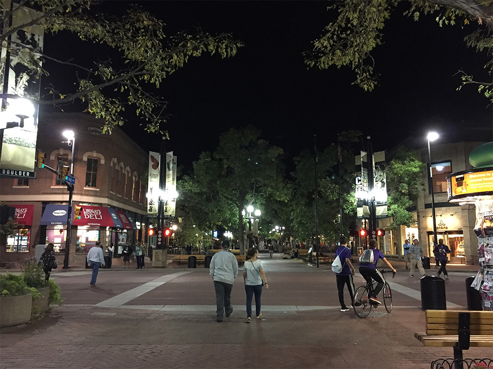 Boulder's Pearl Street at night from the iPhone 6