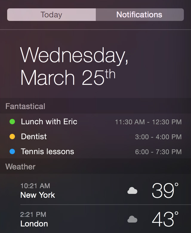Fantastical 2's new Yosemite Notification Center widget