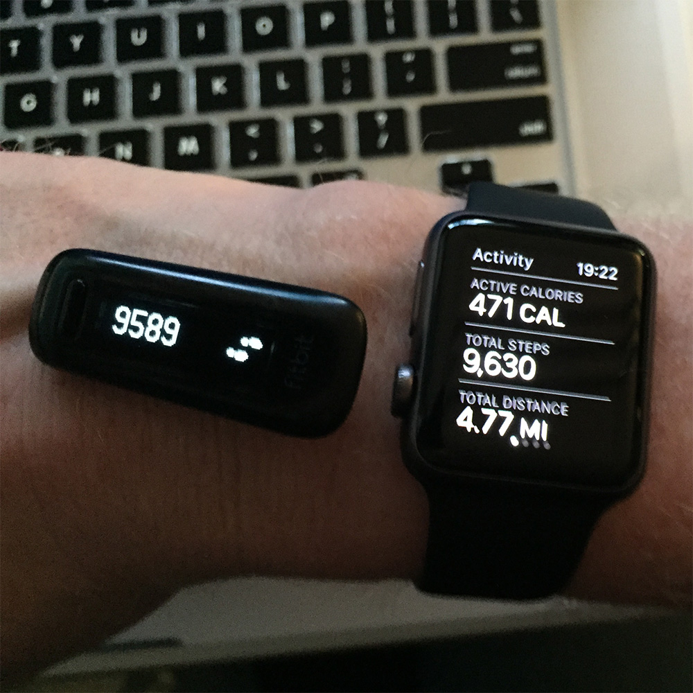 Apple Watch (right) were consistent with my Fitbit One (left)
