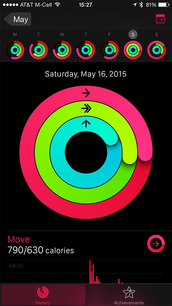 Use the Activity app on your iPhone to see previous days