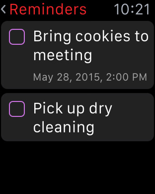 Fantastical's Apple Watch Reminders view