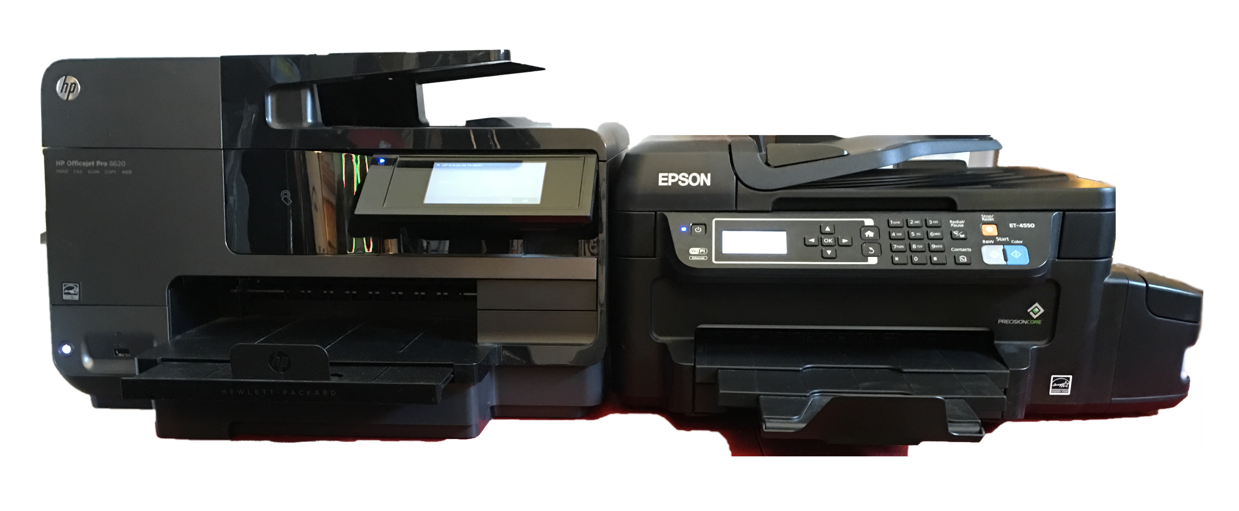 HP Officejet Pro 8620 (left) and an Epson WorkForce ET-4550 (right)