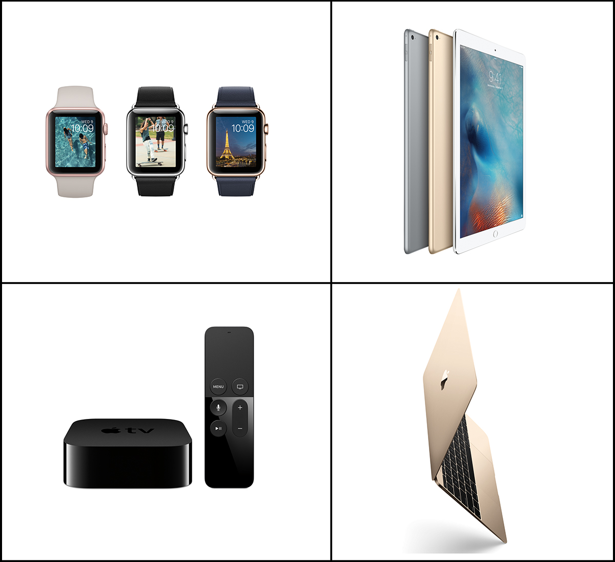 Apple Watch, iPad Pro, Apple TV, MacBook