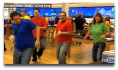 Microsoft staff shaking their groove thang.