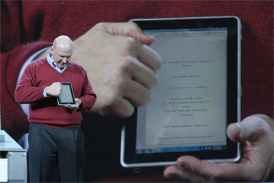 Microsoft CEO Steve Ballmer showing off a failed Windows-based tablet