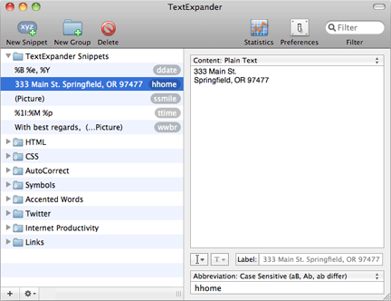TextExpander for the Mac