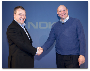 Stephen Elop (left) and Steve Ballmer (right) at a 2011 Nokia media event