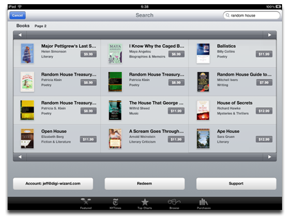 Random House on iBookstore. Finally.