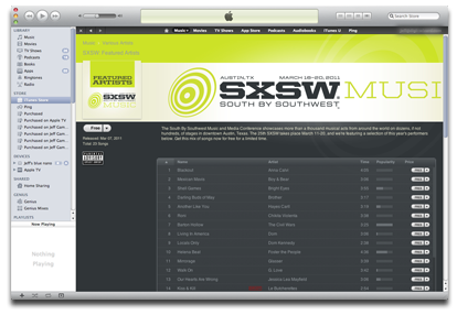 Free SXSW Tracks at iTunes