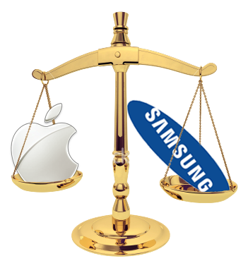 Apple and Samsung logos in the legal scales