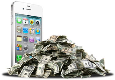 Big Piles of White iPhone 4 Money