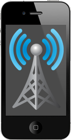 iPhone with radio tower