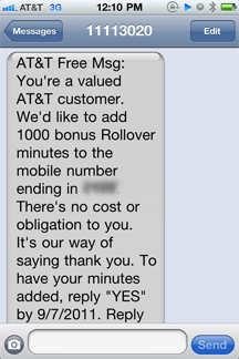 Free rollover minutes from AT&T