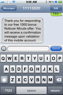 Rollover minute response