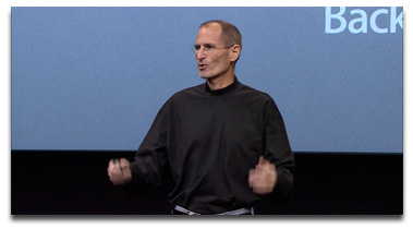 Steve Jobs speaking at a media event in 2010