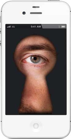iPhone with an eye peering through a keyhole on the screen