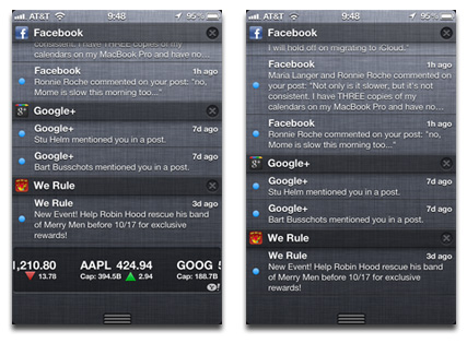 Notification Center with and without the Stocks widget