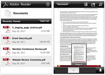 Adobe Reader on the iPhone