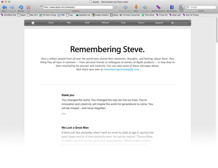 Steve Jobs tribute page