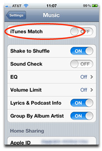 iTunes Match settings