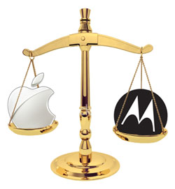 Apple and Motorola logos in the scales of justice