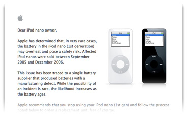 iPod nano replacement program