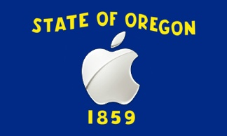 Oregon state flag with Apple logo