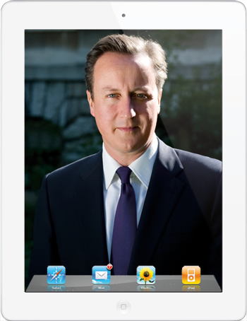 David Cameron photo on an iPad