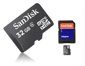 SanDisk 32GB Class 4 High-Speed MicroSDHC Card w/ Full Size SD Adapter