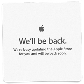 Apple's familiar store update sign