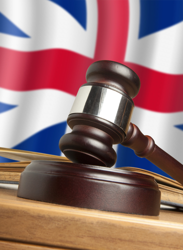 UK flag behind a gavel