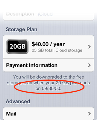 iCloud's iOS settings show extra storage expiring in 2050
