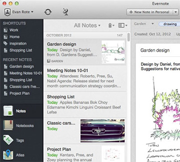 Evernote 5 for the Mac's new interface