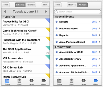 Apple's app for WWDC attendees