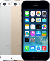iPhone 5S: 64-bit in Silver, gold, and black