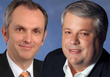 Luca Maestri (left) to replace Peter Oppenheimer (right) as Apple CFO